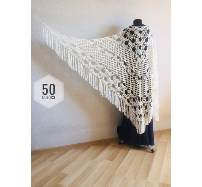 Ivory Crochet lace fringe triangle shawl White Prayer shawl Blue bridesmaid shawl, Red bridal vegan gift pin brooch, Hand knit granny square  Shawl / Wraps