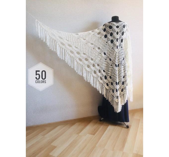 Ivory Crochet lace fringe triangle shawl White Prayer shawl Blue bridesmaid shawl, Red bridal vegan gift pin brooch, Hand knit granny square  Shawl / Wraps  1