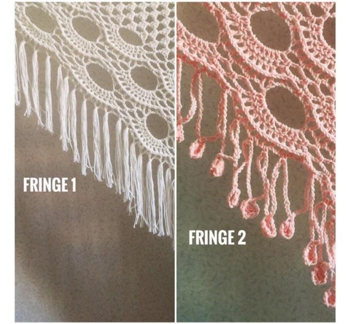 Ivory Crochet lace fringe triangle shawl White Prayer shawl Blue bridesmaid shawl, Red bridal vegan gift pin brooch, Hand knit granny square  Shawl / Wraps  2