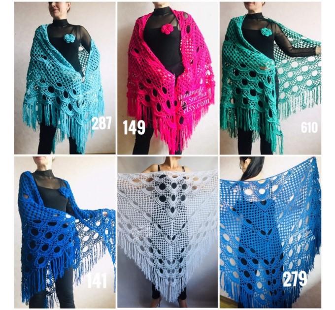 Ivory Crochet lace fringe triangle shawl White Prayer shawl Blue bridesmaid shawl, Red bridal vegan gift pin brooch, Hand knit granny square  Shawl / Wraps  3
