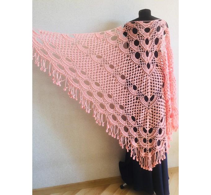 Ivory Crochet lace fringe triangle shawl White Prayer shawl Blue bridesmaid shawl, Red bridal vegan gift pin brooch, Hand knit granny square  Shawl / Wraps  5