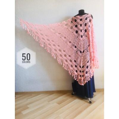 Pink Prayer shawl pin, White custom colours handwoven shawl Bridal crochet wrap Hand knit fringe triangle bridesmaid shawl, Made to order