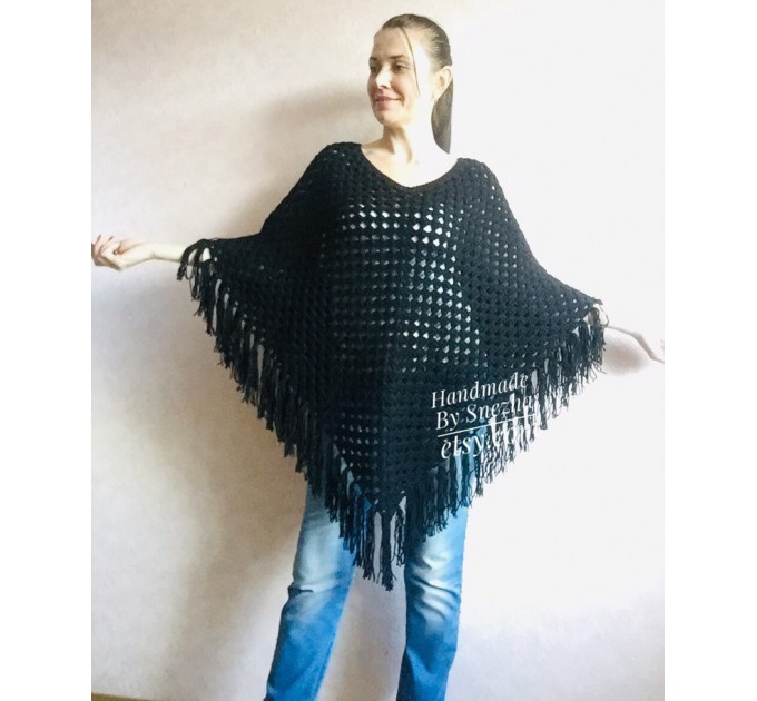 Plus size poncho men Crochet wool fringe poncho women Hand knit winter cloak Oversized sweater Festival clothing granny square Custom colour  Poncho  2