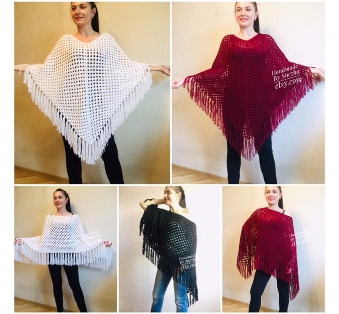 Plus size poncho men Crochet wool fringe poncho women Hand knit winter cloak Oversized sweater Festival clothing granny square Custom colour  Poncho  3