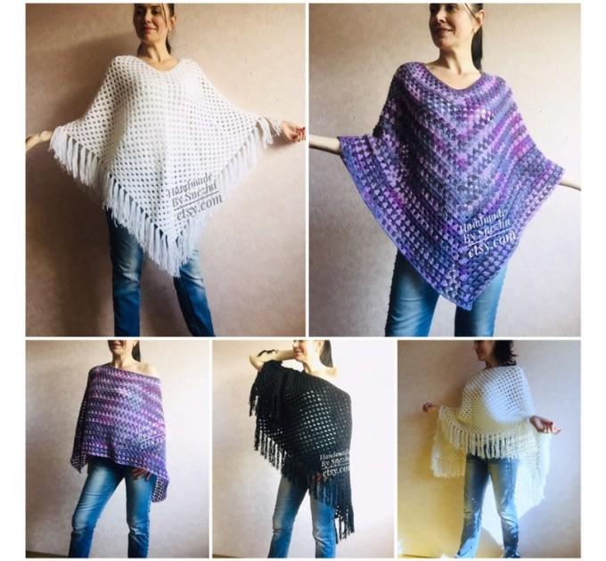 Plus size poncho men Crochet wool fringe poncho women Hand knit winter cloak Oversized sweater Festival clothing granny square Custom colour  Poncho  4