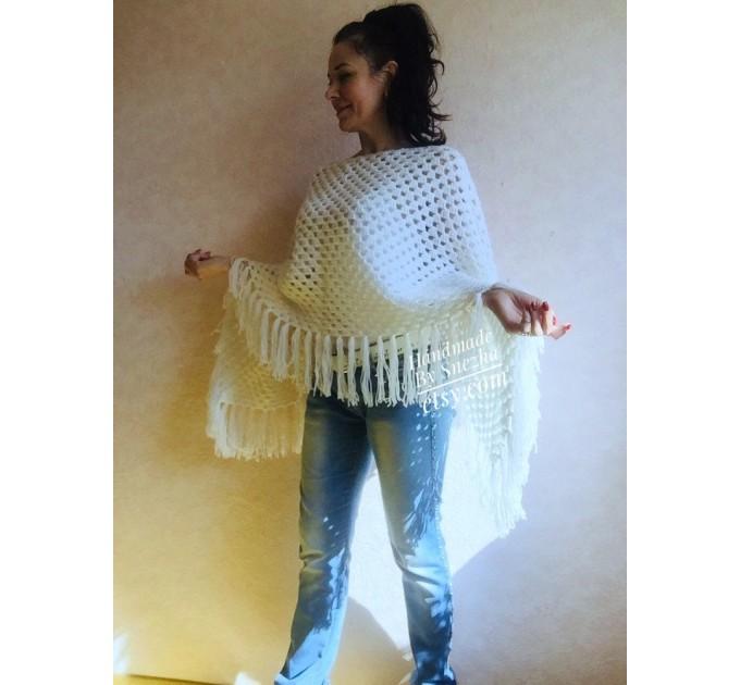 Plus size poncho men Crochet wool fringe poncho women Hand knit winter cloak Oversized sweater Festival clothing granny square Custom colour  Poncho  6