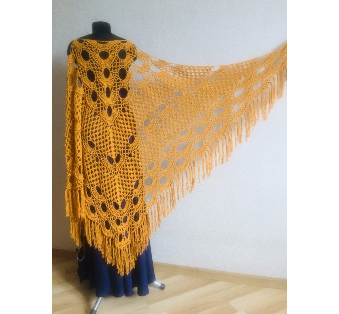 Mustard crochet shawl with fringe Big size cotton knitted  Shawl / Wraps  1