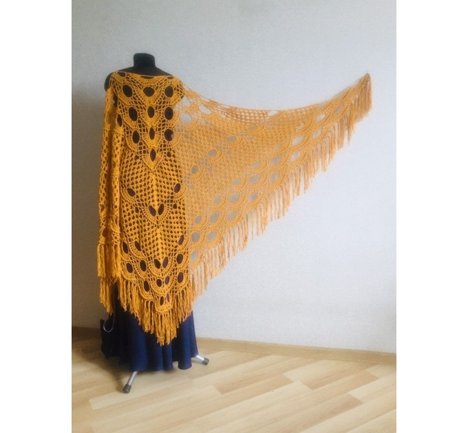 Mustard crochet shawl with fringe Big size cotton knitted  Shawl / Wraps  2