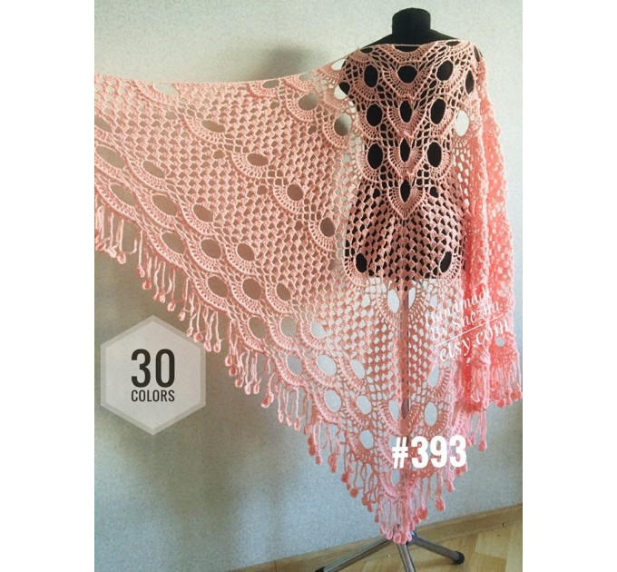 Mustard crochet shawl with fringe Big size cotton knitted  Shawl / Wraps  4