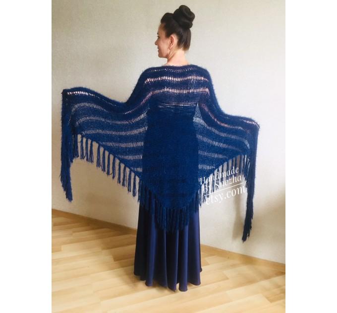 Navy Blue bridesmaid shawl, Ivory Triangle crochet outlander hand knit scarf fringe, Faux fur wrap stole gift for mom Rustic bridal shawl  Shawl / Wraps
