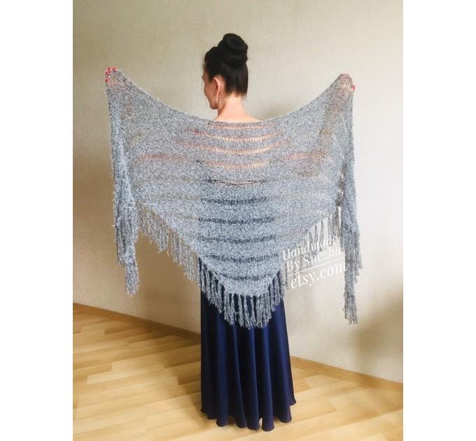Navy Blue bridesmaid shawl, Ivory Triangle crochet outlander hand knit scarf fringe, Faux fur wrap stole gift for mom Rustic bridal shawl  Shawl / Wraps  5
