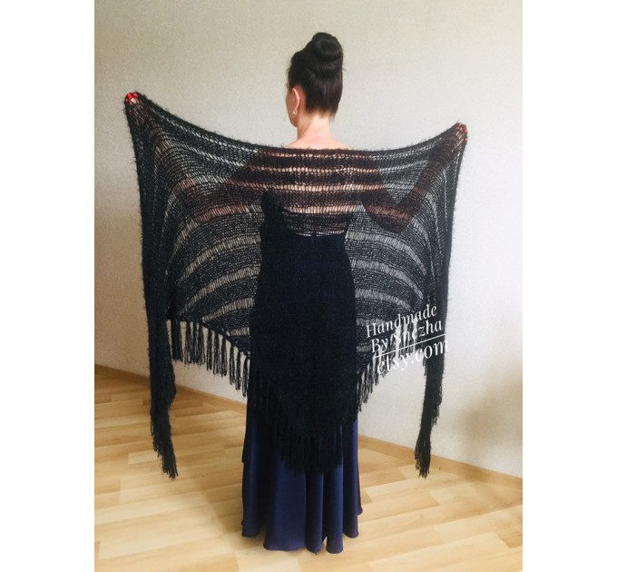 Navy Blue bridesmaid shawl, Ivory Triangle crochet outlander hand knit scarf fringe, Faux fur wrap stole gift for mom Rustic bridal shawl  Shawl / Wraps  6