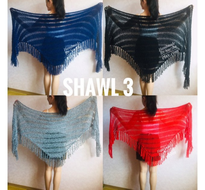 Navy Blue bridesmaid shawl, Ivory Triangle crochet outlander hand knit scarf fringe, Faux fur wrap stole gift for mom Rustic bridal shawl  Shawl / Wraps  9