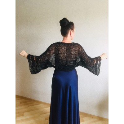 Bolero Shrug Black Lace Hand Knit Summer Plus Size Jacket Blue Mohair Bridal Bolero with Sleeves Knit Cardigan Bridesmaid Short Sleeve Shrug