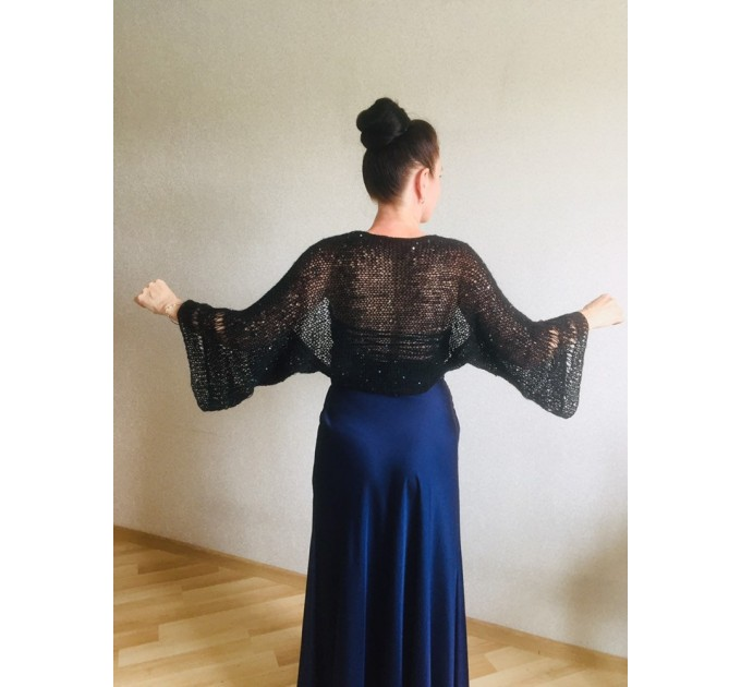 Bolero Shrug Black Lace Hand Knit Summer Plus Size Jacket Blue Mohair Bridal Bolero with Sleeves Knit Cardigan Bridesmaid Short Sleeve Shrug  Bolero / Shrug