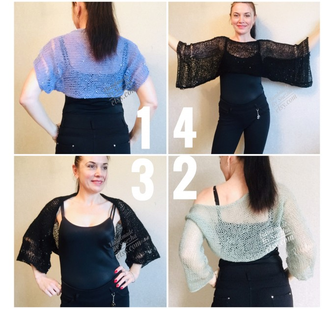 Bolero Shrug Black Lace Hand Knit Summer Plus Size Jacket Blue Mohair Bridal Bolero with Sleeves Knit Cardigan Bridesmaid Short Sleeve Shrug  Bolero / Shrug  2