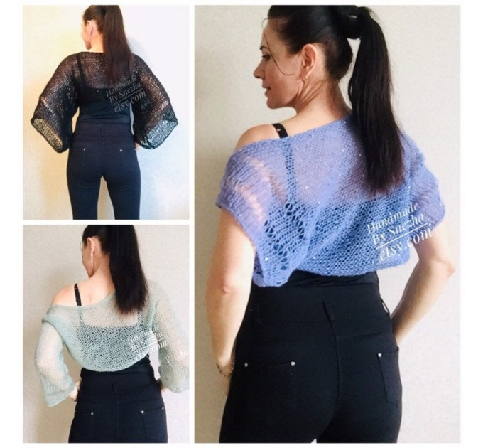 Bolero Shrug Black Lace Hand Knit Summer Plus Size Jacket Blue Mohair Bridal Bolero with Sleeves Knit Cardigan Bridesmaid Short Sleeve Shrug  Bolero / Shrug  3