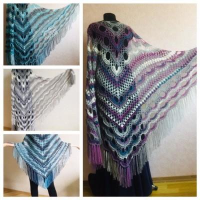 Crochet Poncho Women Fringe Mohair Big Size Maxi Triangle Shawl Gradient Blue Alpaca Long Hand knit Bohemian Festi Hand Knit Shawl