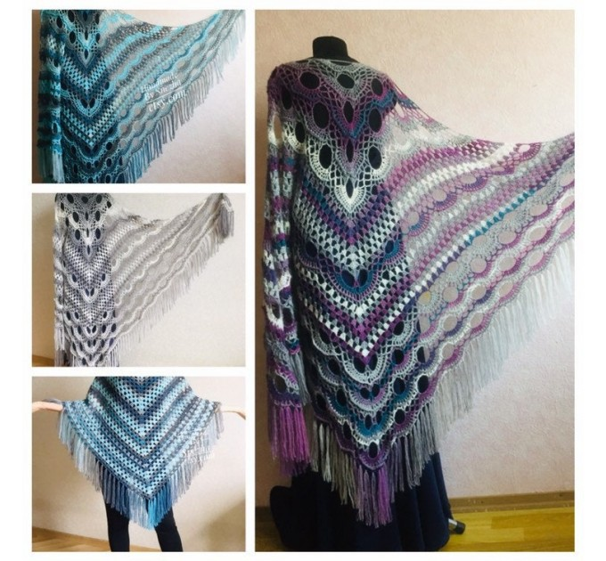 Crochet Poncho Women Fringe Mohair Big Size Maxi Triangle Shawl Gradient Blue Alpaca Long Hand knit Bohemian Festi Hand Knit Shawl  Shawl / Wraps  1