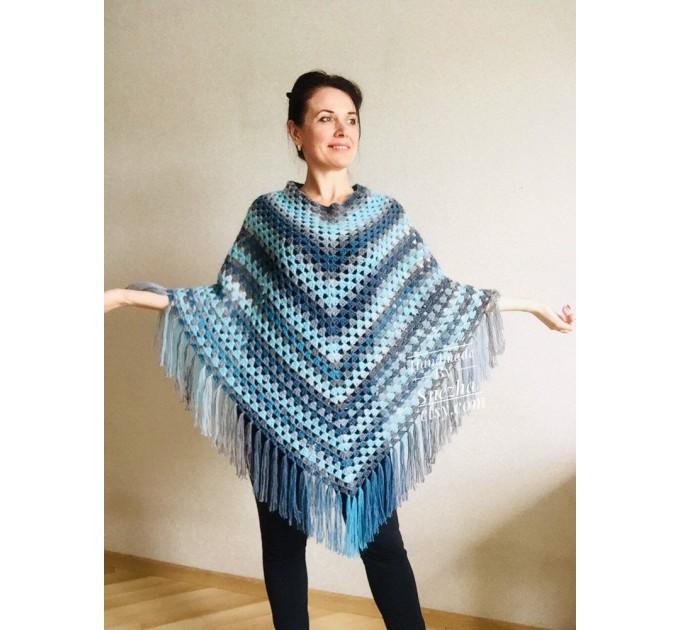 Crochet Poncho Women Fringe Mohair Big Size Maxi Triangle Shawl Gradient Blue Alpaca Long Hand knit Bohemian Festi Hand Knit Shawl  Shawl / Wraps  2