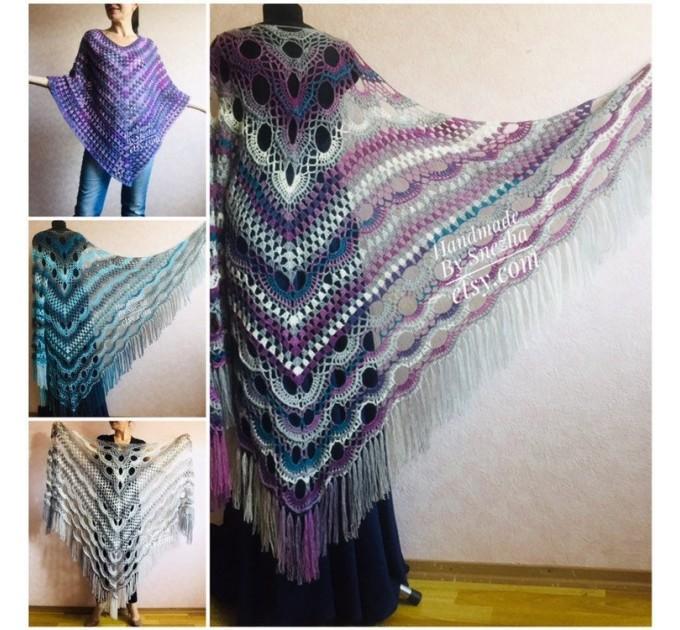 Crochet Poncho Women Fringe Mohair Big Size Maxi Triangle Shawl Gradient Blue Alpaca Long Hand knit Bohemian Festi Hand Knit Shawl  Shawl / Wraps  4