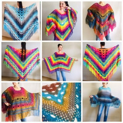 Crochet Poncho Women, Pride Vegan Shawl Fringe, Rainbow Plus Size Men Oversized festival clothing cape, 3XL 2XL Pink Blue Orange Brown Red