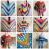 Crochet Poncho Women, Pride Vegan Shawl Fringe, Rainbow Plus Size Men Oversized festival clothing cape, 3XL 2XL Pink Blue Orange Brown Red
