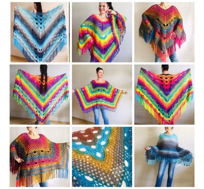 Crochet Poncho Women, Pride Vegan Shawl Fringe, Rainbow Plus Size Men Oversized festival clothing cape, 3XL 2XL Pink Blue Orange Brown Red  Poncho  1