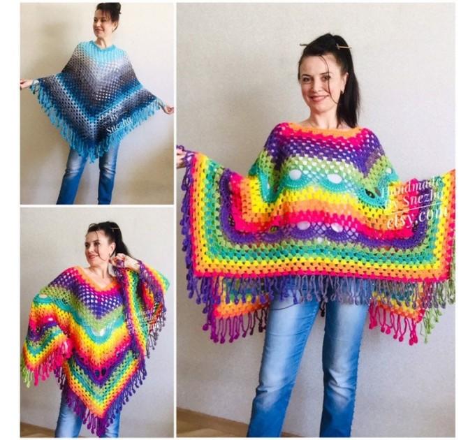 Crochet Poncho Women, Pride Vegan Shawl Fringe, Rainbow Plus Size Men Oversized festival clothing cape, 3XL 2XL Pink Blue Orange Brown Red  Poncho  5