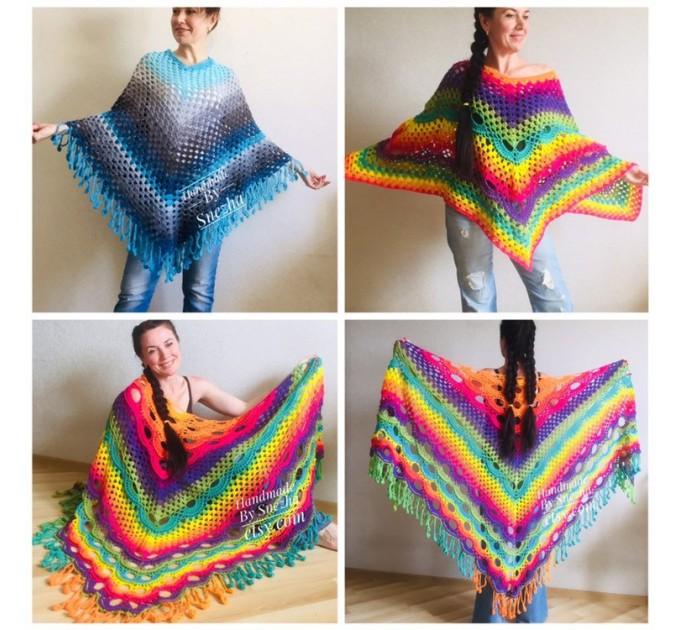 Crochet Poncho Women, Pride Vegan Shawl Fringe, Rainbow Plus Size Men Oversized festival clothing cape, 3XL 2XL Pink Blue Orange Brown Red  Poncho  7