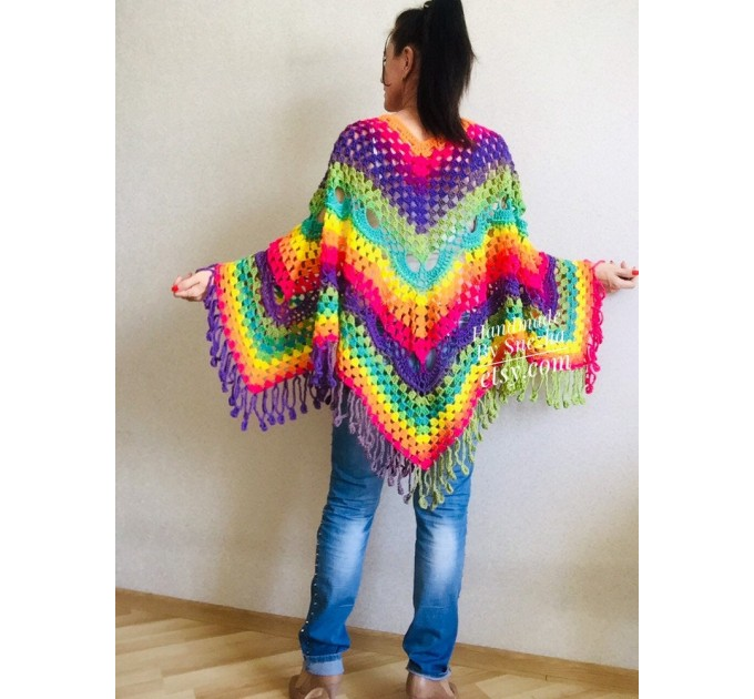 Crochet Poncho Women, Pride Vegan Shawl Fringe, Rainbow Plus Size Men Oversized festival clothing cape, 3XL 2XL Pink Blue Orange Brown Red  Poncho  8