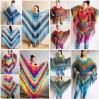 Crochet Shawl Poncho Women Plus Size Festival Pride Vegan Clothing Fringe, Rainbow Hippie Hand Knit Gypsy Shawl Multicolor Large3XL 2XL BLUE