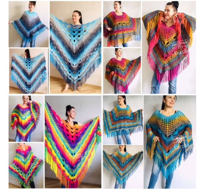 Crochet Shawl Poncho Women Plus Size Festival Pride Vegan Clothing Fringe, Rainbow Hippie Hand Knit Gypsy Shawl Multicolor Large3XL 2XL BLUE  Shawl / Wraps  1