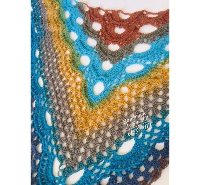 Crochet Shawl Poncho Women Plus Size Festival Pride Vegan Clothing Fringe, Rainbow Hippie Hand Knit Gypsy Shawl Multicolor Large3XL 2XL BLUE  Shawl / Wraps  10