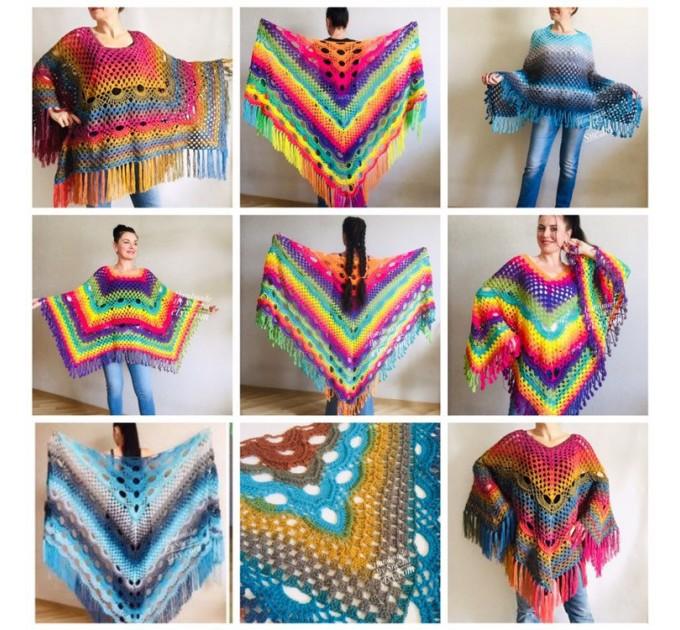 Crochet Shawl Poncho Women Plus Size Festival Pride Vegan Clothing Fringe, Rainbow Hippie Hand Knit Gypsy Shawl Multicolor Large3XL 2XL BLUE  Shawl / Wraps  7