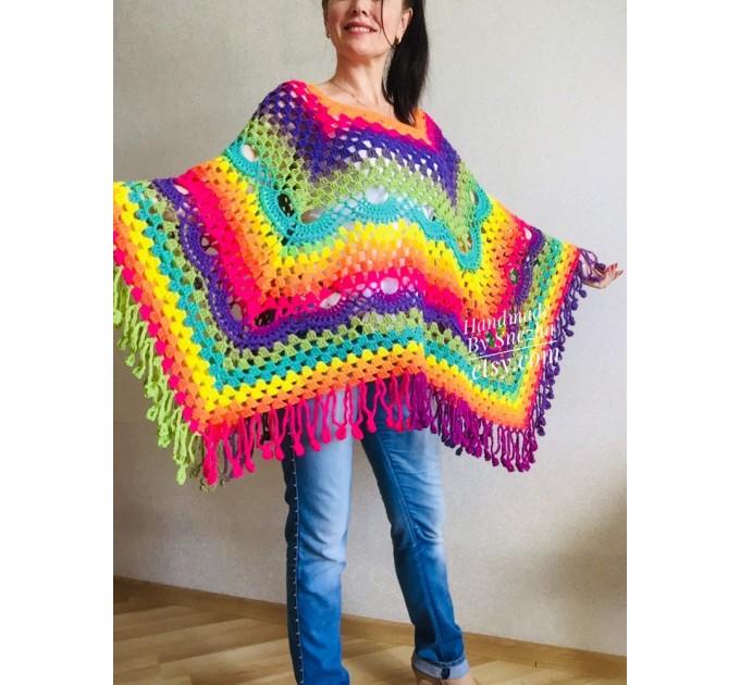 Crochet Shawl Poncho Women Plus Size Festival Pride Vegan Clothing Fringe, Rainbow Hippie Hand Knit Gypsy Shawl Multicolor Large3XL 2XL BLUE  Shawl / Wraps  8
