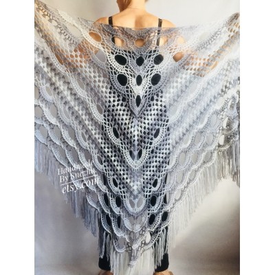 Gray Crochet Shawl Triangle Fringe Big Size Wrap gift brooch Alpaca Long Mohair Woman Bohemian Festi Hand Knit Shawl Black Granny