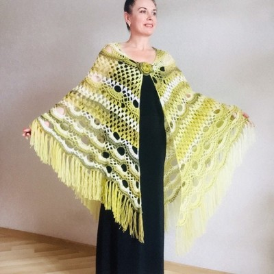 Crochet Shawl Outlander Festival Lace Pashmina Knitted Triangle Scarf Evening Bridal Wraps Olive Green Cape Wool Paisley Women Poncho Fringe