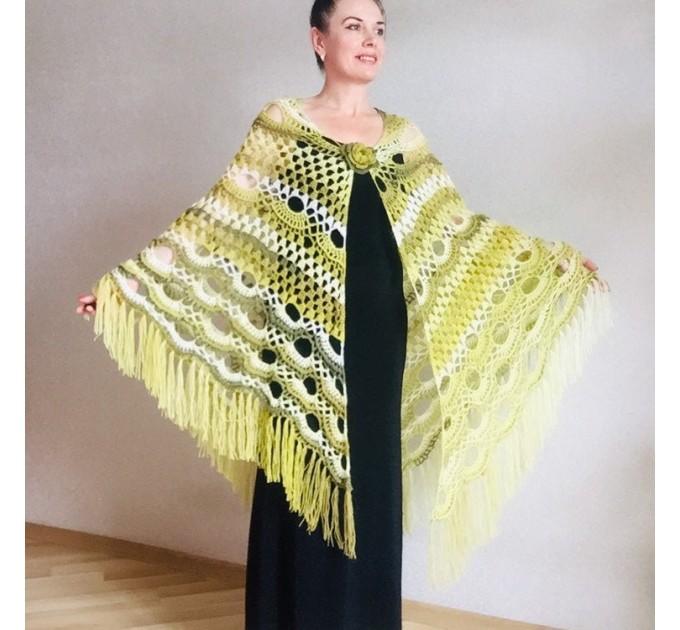 Crochet Shawl Outlander Festival Lace Pashmina Knitted Triangle Scarf Evening Bridal Wraps Olive Green Cape Wool Paisley Women Poncho Fringe  Shawl / Wraps