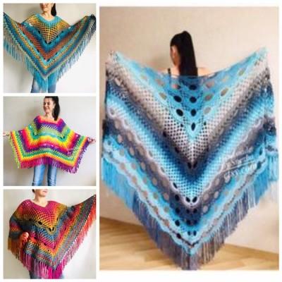 Blue Crochet Shawl pin brooch Fringe Poncho Women Knitted shawl Crochet Scarf Plus size Rainbow Gypsy Vegan Clothing Large 3XL 2XL Gray