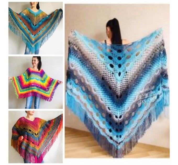 Blue Crochet Shawl pin brooch Fringe Poncho Women Knitted shawl Crochet Scarf Plus size Rainbow Gypsy Vegan Clothing Large 3XL 2XL Gray  Shawl / Wraps  3