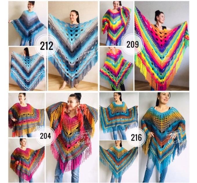 Blue Crochet Shawl pin brooch Fringe Poncho Women Knitted shawl Crochet Scarf Plus size Rainbow Gypsy Vegan Clothing Large 3XL 2XL Gray  Shawl / Wraps  2