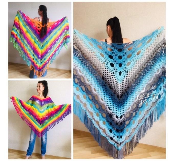 Blue Crochet Shawl pin brooch Fringe Poncho Women Knitted shawl Crochet Scarf Plus size Rainbow Gypsy Vegan Clothing Large 3XL 2XL Gray  Shawl / Wraps  7