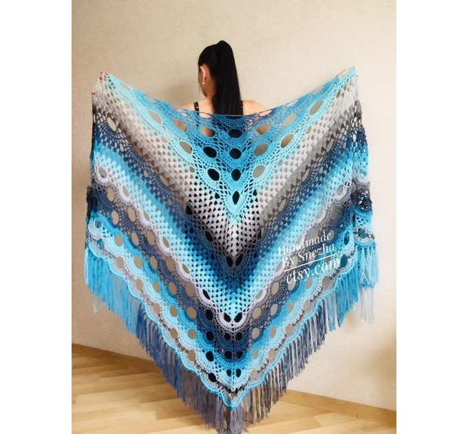 Blue Crochet Shawl pin brooch Fringe Poncho Women Knitted shawl Crochet Scarf Plus size Rainbow Gypsy Vegan Clothing Large 3XL 2XL Gray  Shawl / Wraps  8