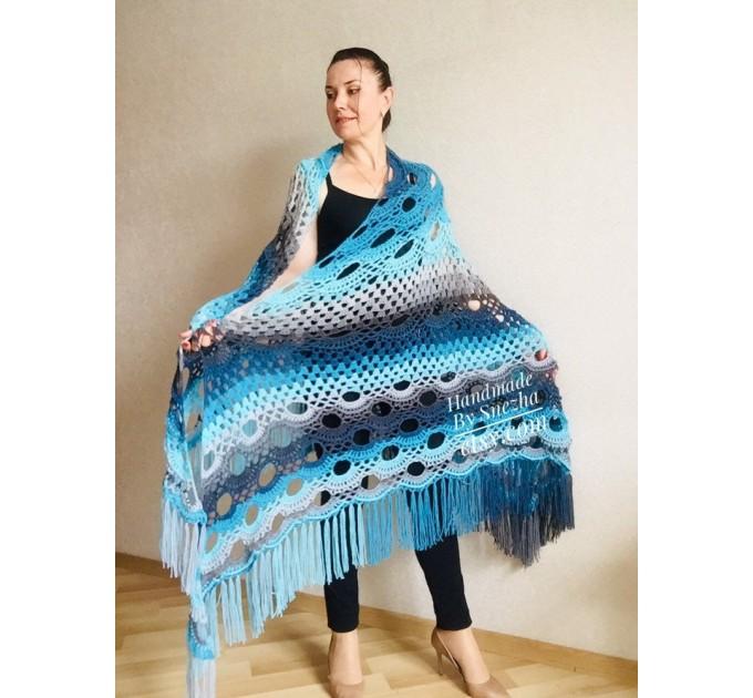 Blue Crochet Shawl pin brooch Fringe Poncho Women Knitted shawl Crochet Scarf Plus size Rainbow Gypsy Vegan Clothing Large 3XL 2XL Gray  Shawl / Wraps  9