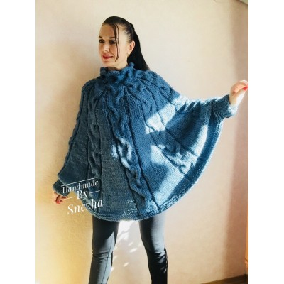 Knit Poncho Sweater Women Plus Size Chunky Wool Crochet Poncho Alpaca Loose Cable Knit Sweater Oversized Cape Coat Black Red White Winter