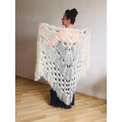 Winter wedding shawl fringe Ivory bridesmaid shawl Blue boho rustic wedding cape White bridal outlander shawl pin brooch Crochet mohair wrap