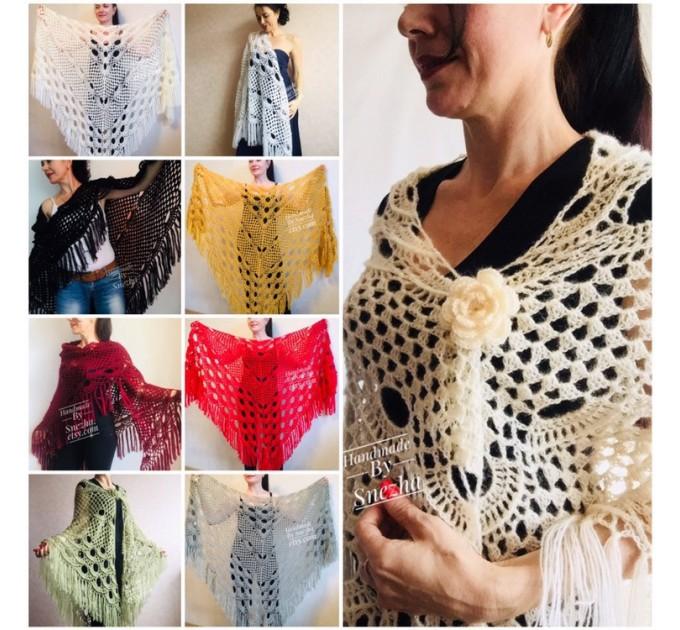 Winter wedding shawl fringe Ivory bridesmaid shawl Blue boho rustic wedding cape White bridal outlander shawl pin brooch Crochet mohair wrap  Wedding  9