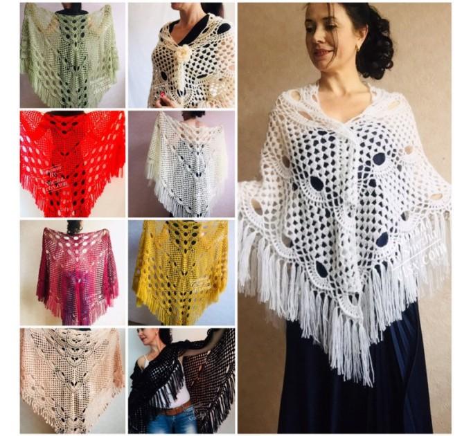 Winter wedding shawl fringe Ivory bridesmaid shawl Blue boho rustic wedding cape White bridal outlander shawl pin brooch Crochet mohair wrap  Wedding  6