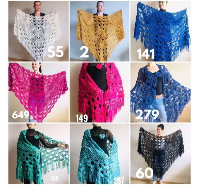 Bridesmaid shawl Navy Blue wedding shawl fringe, White crochet bridal cover up Hand knit crochet Bridal wrap Outlander lace shawl pin brooch  Shawl / Wraps  8